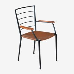 Midcentury Ladderax Steel & Leather Armchair by Robert Heal for Staples c.1960