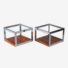 Pair of Midcentury Chrome & Rosewood Side Tables by Merrow Associates c.1960