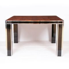 Vintage Willy Rizzo Dining Table with Olive Wood Top c.1970