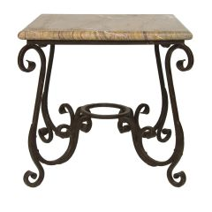 Marble Side Table with Iron Base