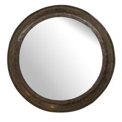 Upcycled Round Mirror made from a Barrel