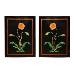 Mid 20th Century Pair of Mughal Style Black Marble Inlay Panels