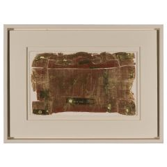 A abstract paint of a suitcase by Michael Heindorff illustrated in brown and green tones with negative outlines and details in white