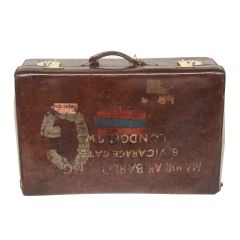 1880s Chunky brown Leather Suitcase
