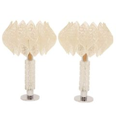 Pair of Chrome & Glass Lamps