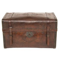 American Hand Tooled Leather Trunk c.1850