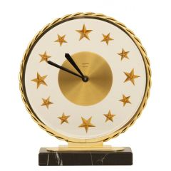 Midcentury Bayard 8 Day Clock with Star Numerals, French c.1960