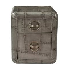 Aero Style Metal Clad 2 Drawer Bedside Cabinet