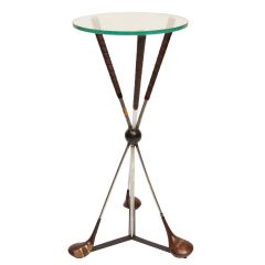 Side Table Upcycled from Vintage Golf Clubs