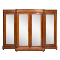 antique mirror fronted wardrobe in rosewood with a marquetry breakfront in mahogany and original solid oak shelving