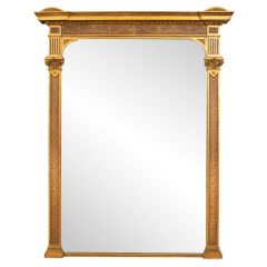 Large Antique Gilded & Painted Overmantel Mirror c.1800