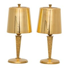Pair of Art Deco Table Lamps in Gilt Bronze by Genet & Michon, French c.1930