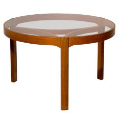 1960s Teak Coffee Table with Glass Top