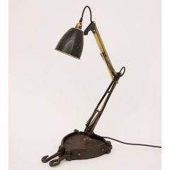 Industrial Vintage Articulated Work Bench Lamp with Upcycled Pully Base