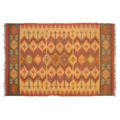 Contemporary Hemp & Wool Hand Woven Dhurrie from Rajasthan