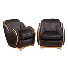Pair of Art Deco Black Cloud Armchairs by Harry & Lou Epstein c.1930