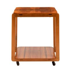 British Art Deco Figured Walnut Two Tier Side Table on Casters c.1930
