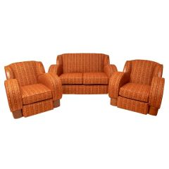 British Art Deco Lounge Suite with Cloud Back & Rounded Sides c.1930