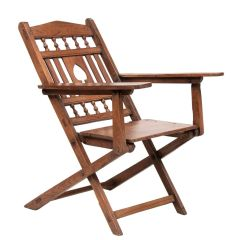 Early 20th Century Rosewood Folding Tea Planters Chair from Kerala South West India
