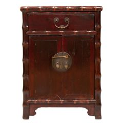 Mid 19th Century Elm Lacquer Cabinet with Bamboo Styling from North China