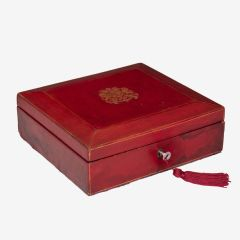 Early 20th Century Wickwar Red Leather Documents Box with Royal Cypher