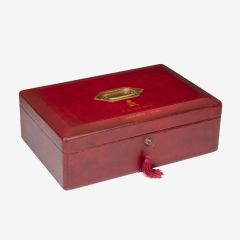 George V John Peck Red Morocco Leather Despatch Box