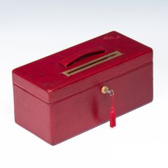 Needs & Co. Edwardian Red Morocco Leather Ballot Box