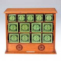Ferris & Co Late 19th Century Mahogany Cabinet of Thirteen Tins for Surgical Dressings