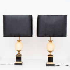 Pair of Midcentury Ostrich Egg Table Lamps