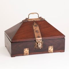 Early 20th Century Hut Box from Kerela South West India Wood with Metal details