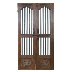 Pair of 19th Century Indian Jali Doors with Carved Panelling from Gujarat