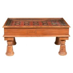 Indian Coffee Table with 19th Century Painted Ceiling Panel Top