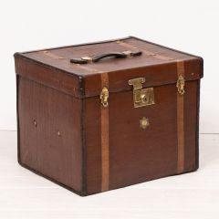 1900s Arm & Navy Half Trunk Leather & Canvas Hat Box