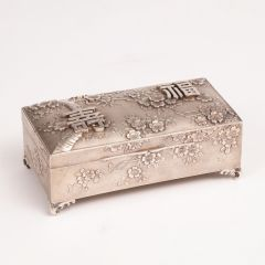Antique Silver Plated Cigarette Box with Japanese Decoration