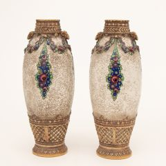 Pair of Austrian Secessionist Vases by Ernst Wahliss c.1920