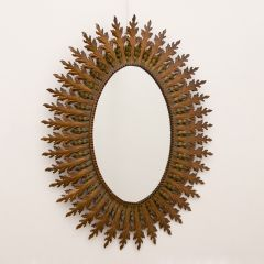 French Midcentury Patinated Brass Framed Mirror c.1960