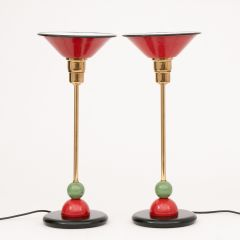A pair of Memphis style table lamps from a boutique Dutch hotel