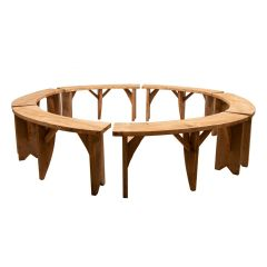 Set of 6 Circular Reclaimed Pine Benches