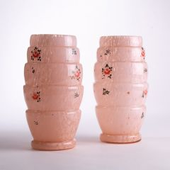 French Odeon Style Pink Glass Vases c.1930