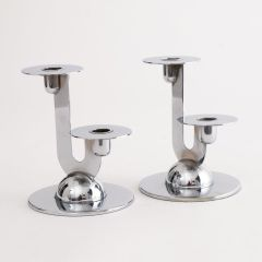 Art Deco Chrome Candlesticks by Chase USA c.1930