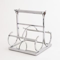 French Art Deco Jacques Adnet Chrome Wine Carrier c.1930