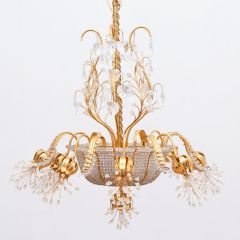 Hollywood Regency Crystal Gold Plated Chandelier by Palwa of Austria c.1970