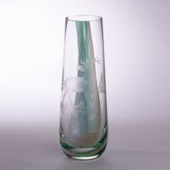 Caithness Etched Glass Waterfall Scene Vase