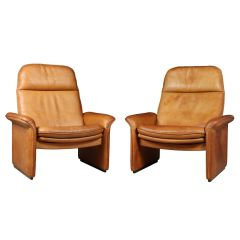 A Pair of Reclining Leather Armchairs by De Sede c.1960
