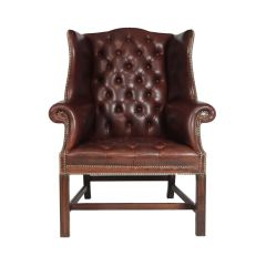 Georgian Style Buttoned Leather Wing Chair c.1960