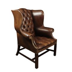 Vintage Buttoned Brown Leather Wing Chair c.1960