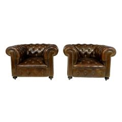 Pair of Vintage Brown Leather Chesterfield Club Chairs c.1960