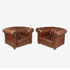 Vintage Leather Chesterfield Club Chairs c.1960