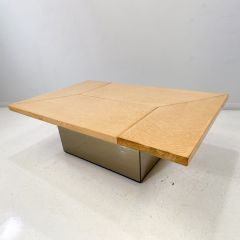French Birds Eye Maple Coffee Table and Bar by Paul Michel c.1970