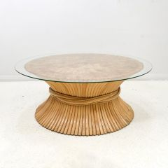 Midcentury Wheat Sheaf Coffee Table by McGuire c.1970